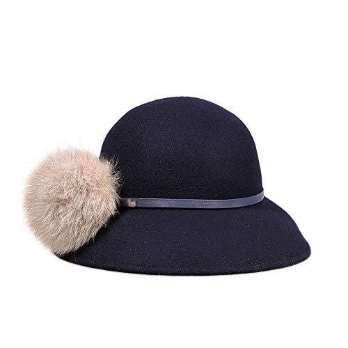 GYZ Hut, Herbst und Winter Polyesterfaser Damenmode einfach Dicke warme und bequemer Pinch Ball Linie Fischer Hut, in 2 Farben erhältlich Kappe Damen (Color : B)