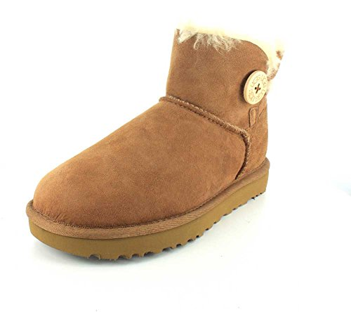UGG Damen Mini Bailey Button Kurzschaft Stiefel, Braun (Chestnut), 41 EU