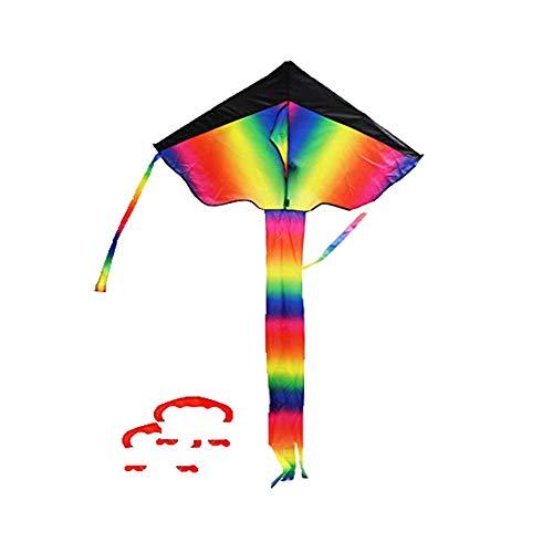 Kite Cometa Juguetes Voladores Cometa para Niños INTVNGrande Cometa para los Niños y Adultos El Arco Iris Colorido de la Cometa Fácil de Volar, Liviano y Estable con Dos Cuerdas 50m ✅
