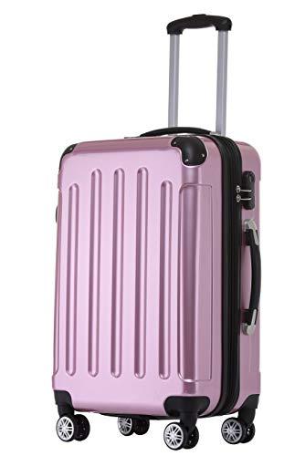 BEIBYE Zwillingsrollen 2048 Hartschale Trolley Koffer Reisekoffer Taschen Gepäck in M-L-XL-Set (Rosa, XL)