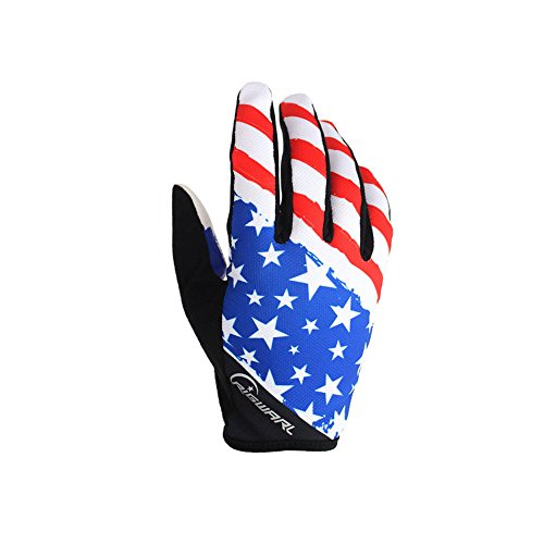 Cool Men's Women's Road Cycling Bikes American Flag Full Finger Gloves Best USA Flag Gloves For Mountaineering Running Mountain Bike Fishing Driving Camp Hiking Bicycle Fitness Workout (Blue, M)