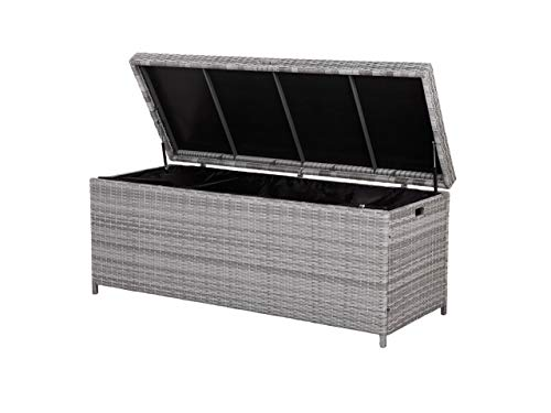 Beliani Garden Deck PE Rattan Storage Box Grey 158 x 63 cm Modena
