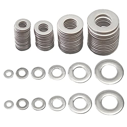 Liovns Mdingbao-Flat Washers M3 M4 M5 M6 M8 M10 Stainless Steel Flat Washer Plain Washer Gaskets Assortment Kit, 115 Piece/Set, Corrosion and Durable