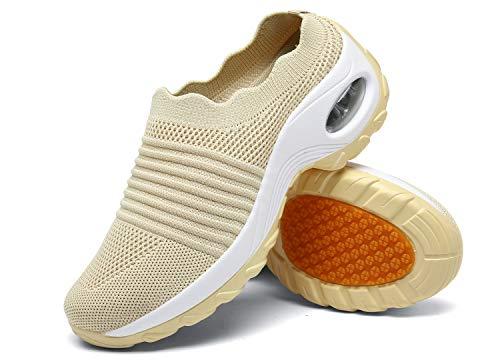 Zuecos de Cuña Mujer Transpirable Sandalias Plataforma Cómodo Ligero Casual Zapatillas para Caminar al Aire Libre,Beige,EU 40