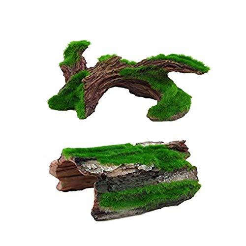 Hamiledyi Tronco de Resina para Acuario, Madera de Deriva Betta, Tronco Hueco para árbol, escondite para Reptiles, Cueva Mediana, decoración para Tanques de Peces, 2 Unidades