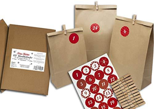 Trendario Adventskalender zum Befüllen, DIY Adventkalender 24 Papiertüten, Zahlenaufkleber und Klammern - Kalender zum selber basteln mit Zahlen Sticker - Geschenkideen Kinder, Frauen & Männer