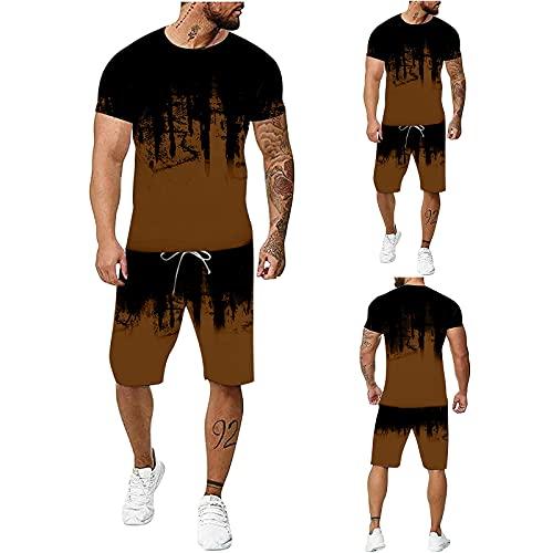Chándal para hombre con estampado 3D en color marrón, 2 piezas, juego de deporte de manga corta, pantalones deportivos y camiseta con bolsillos, chándal para el tiempo libre, marrón, XXXXXXL