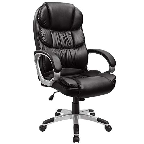 Furmax High Back Office Adjustable Ergonomic Desk Padded Armrests Executive PU Leather Swivel Task Chair with Lumbar Support, Black