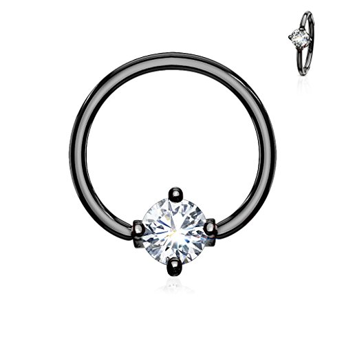 Inspiration Dezigns Prong Round CZ Surgical Steel Captive Bead Ring (Sold Individually) (16G, Length: 3/8', Black / Clear)