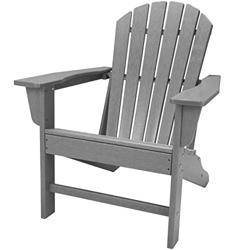 TRYZS Adirondack Chair Oversized Patio Chair Outdoor Lounger Lawn Chair AllWeather| FadeResistant| Waterproof| Easy Maintenance Perfect for Outdoor Porch Deck Garden and Lawn Slate Grey