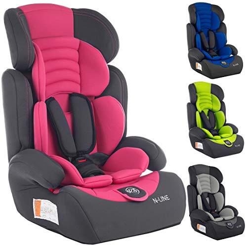 Autokindersitz Autositz Kinderautositz mit Extrapolster Kids 9-36 kg 1+2+3 ECE 4 Farben NEU Kindersafety NEU + ECE R44/04 geprüft, Farben zur Auswahl 5-Punkte-Sicherheitsgurt Kopfstütze (KP0101PIN)