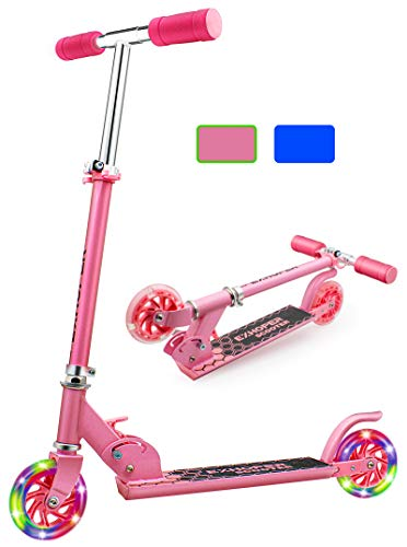 Exhoper Kick Scooter for Kids Height Adjustable Kids Folding Scooter with Light Up Wheels Lightweight for Boys Girls Age 3+, 110 lb Weight Capacity