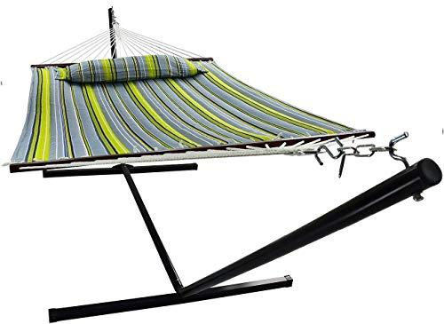 VITA5 - Amaca con Supporto, Fino a 2 persone/200 kg, 190x140, Cuscino Rimovibile, Resistente ad Agenti atmosferici e Raggi UV (Verde/Blu)