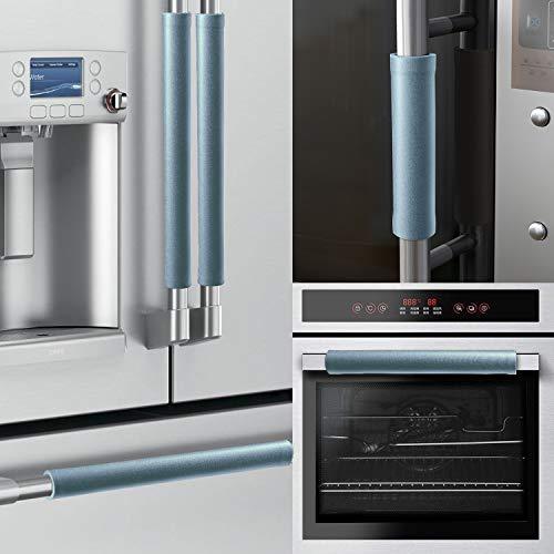 MingXJD Refrigerator Door Handle Cover,Keep Kitchen Appliances Clean,Drips,Smudges, Fingerprints and Dust Covers,Suitable for Fridge,Microwave,Dishwasher,Oven (5PCS, Blue)