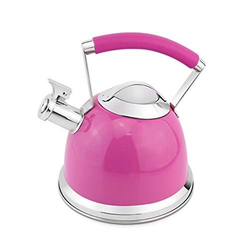 shi xiang shop Pfeifende Tee-Kessel-Kochplatten, 304 Edelstahl-Kochplatten-Teekanne 2.5L, for Gasherd und Induktionskocher (Farbe : Rosa)