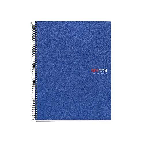Miquelrius 6 x 8 Wirebound Notebook, 6-Subject, College Ruled, Blue