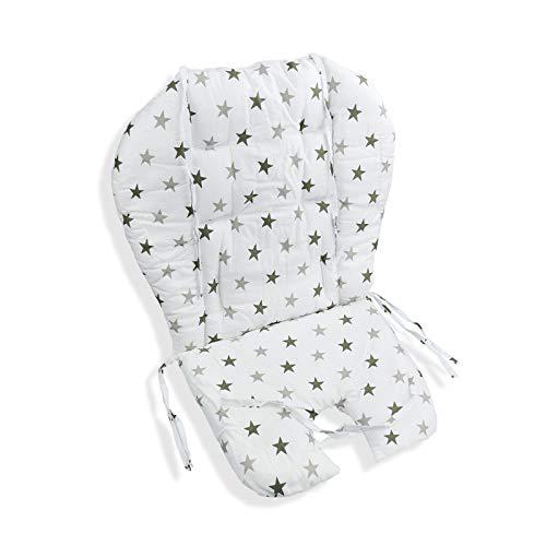 Cuscino Per Seggiolone, Cuscino Per Seggiolone, Imbottitura Traspirante, Morbido E Confortevole,adatto Per La Maggior Parte Dei Seggioloni, Sedie Da Pranzo Per Bambini(sfondo Bianco a Stelle)