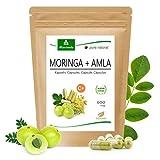 MoriVeda® Moringa + Amla 120 Cápsulas, alta dosis, bomba vitamínica con bayas de amla para el sistema inmunológico y la digestión, Ayurveda, Vegano y sin gluten, 1x120 cápsulas