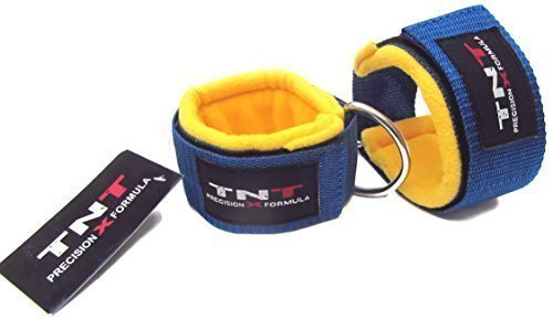 Top Gym Physio 'STRAAT' Foot/Flex Ankle Strap's Fleece Padding Sold (1 Pair) Cable Machine Mult-Gym Machine Attachment with Single D-Ring Unisex-adult Workouts Easy hook on/off for a Fast Quick fit (Yoga, Pilates, Kickboxing,Tae-Kwon-Do, Crossfit) Training Aid by SHIHAN POWER-SPORTS