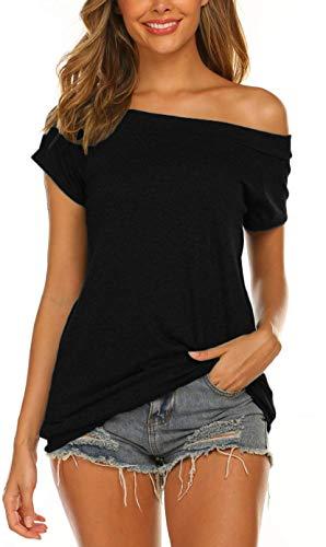 Lalala Camiseta de manga larga para mujer, parte superior con hombros descubiertos, camiseta de manga larga A-negro. M