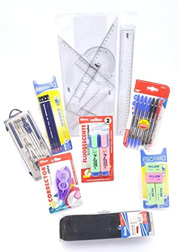 Pack Material Escolar Secundaria, ESO, Instituto, Lote de Materiales Estudiantes, Compas Escolar, Juego de Reglas