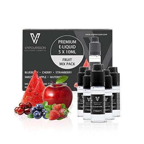 VAPOURSSON 5 X 10ml E Liquid gemischte Früchte,0mg (Ohne Nikotin) Apfel   Blaubeere   Kirsche   Erdbeere   Wassermelone   Neue Formel für einen extra starken Geschmack mit hochwertigen Zutaten   Hergestellt für elektronische Zigaretten und E Shisha