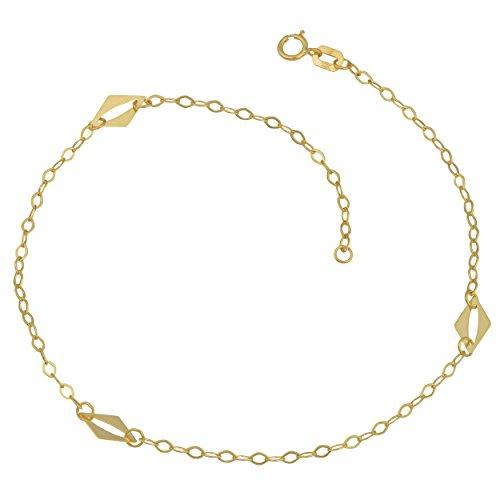 Kooljewelry 10k Yellow Gold High Polish Station Anklet (10 inch)
