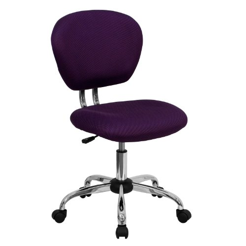 Flash Furniture Mid-Back Purple Mesh Padded Swivel Task Office Chair with Chrome Base