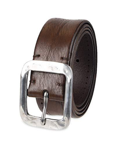 John Varvatos Leather Belts for Men Dress Casual for Jeans, Brown Fleetwood, 34
