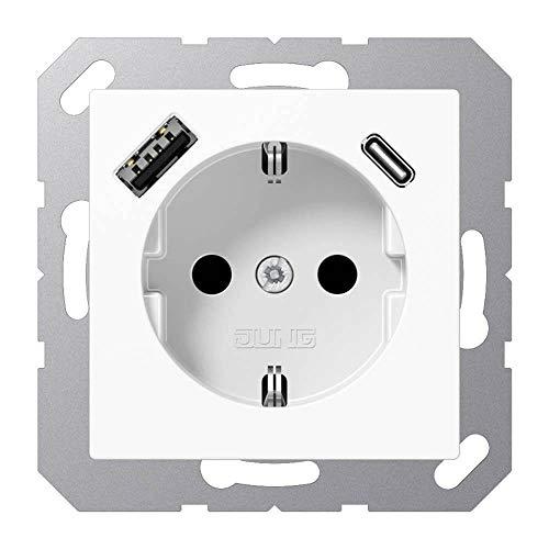 Jung A1520-15CAWW SCHUKO-Steckdose mit USB Typ AC (max. 3A) Quick Charge mit erhöhtem Berührungsschutz (Thermoplast bruchsicher) Alpinweiß Serie A