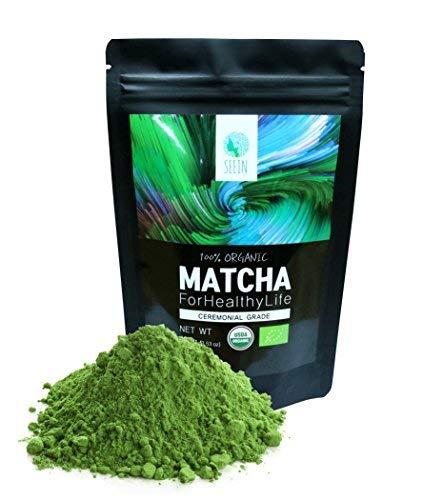SEEIN Organic Matcha (Ceremonial) - USDA Organic & EU Certified - Authentic Premium Green Tea Powder, 100g(3.52oz), 50 Serving, Smooth Flavor, Vegan-friendly, Rich Antioxidants, Natural Energy