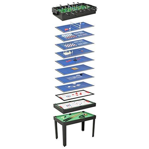 Festnight Mesa Multijuegos 15 en 1 Negro 121X61X82 Cm, Versátil Mesa EE Juegos 15 en 1