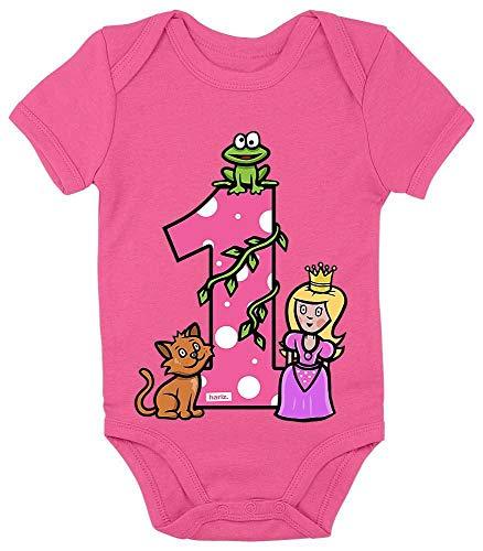 Hariz Baby Body de manga corta Princesa cuento de cuento de cuento para niños Baby Plus tarjeta de regalo unicornio fucsia 12-18 meses