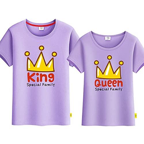 SANDA T-Shirt De Unisex,Amantes del Verano 2021 Nueva Corona Camiseta de Manga Corta Hombres y Mujeres Chaqueta Casual Mangas Cortas de Dibujos Animados-púrpura_XXL de la Mujer