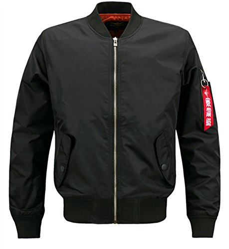 Brinny Herren Jacke Übergangs Bomberjacke Übergröße Zipper Fliegerjacke Militär Freizeitjacke Sportjacke Plus Size Outwear, Schwarz 7XL