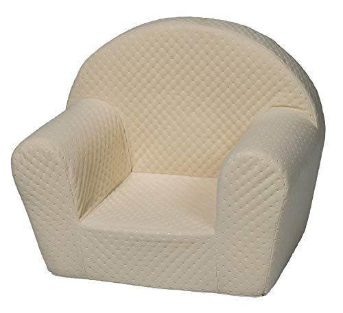 Velinda Kindersessel Mini-Sessel Kinderstuhl Relaxsessel Kuschelsessel Softsessel (Farbe: cremefarben)
