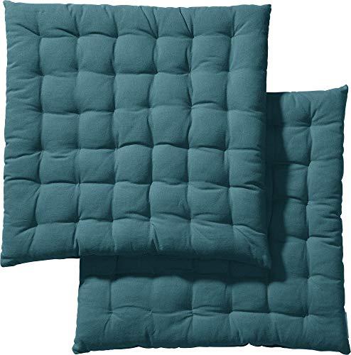 REDBEST Stuhlkissen, Stuhlauflage, Sitzkissen Uni 2er-Pack Petrol, Größe 40x40x3 cm - gesteppt, mit glatten, strapazierstarkem Gewebe, 100% Baumwolle (weitere Farben)