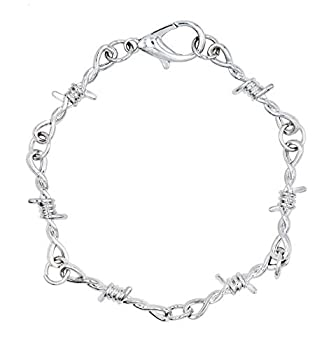 Barbed wire necklace Gothic Thorns Choker Necklace Bangle Bracelet Spur Chain Necklace Punk Hiphop Rock Jewelry for Boys Men  bracelet-silver