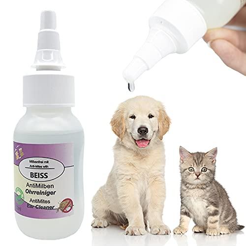 BEISS - Anti Ohrmilben 50ml I befreit Hunde & Katzen von Ohrmilben I 100% Naturell I Tierärztliche Formel I Reinigung und Pflege - äußeren Gehörgang