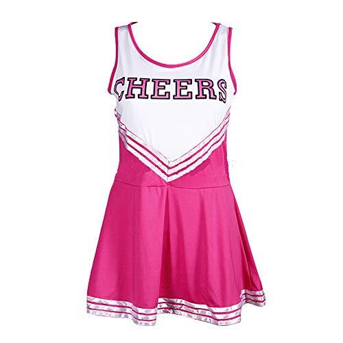 Greetuny 1pcs Cheerleading Uniform Sin Mangas 4 Colores Raya Slim Fit Vestido High School Musical Animadora Disfraz Traje (S, Rosa Rojo)