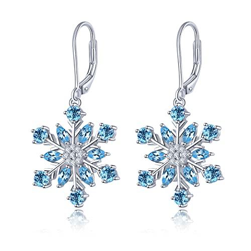 Pendientes de gota Lohaspie, pendientes colgantes de plata de ley 925 para mujeres y niñas, pendientes de topacio azul suizo, elegantes joyas finas para cumpleaños