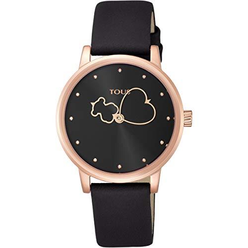 Reloj Tous Bear Time de acero IP rosado con correa de piel negra Ref:800350920