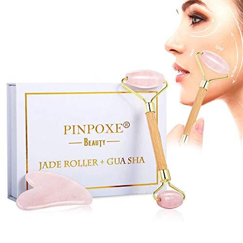 Rouleau de jade, Massager Jade Facial, Jade Roller Augmenter Circulation Sanguine, Rouleau de Massager pour Votre Visage, Cou, Corps et Yeux, anti-vieillissement et serrer l'outil de soin de peau