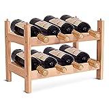 FDS costway Vino Estante de Madera Estante de Botellas de Vino Soporte Estante de Madera Armario–Botellero con 2Niveles para 8Botellas de Vino apilable/Ampliable