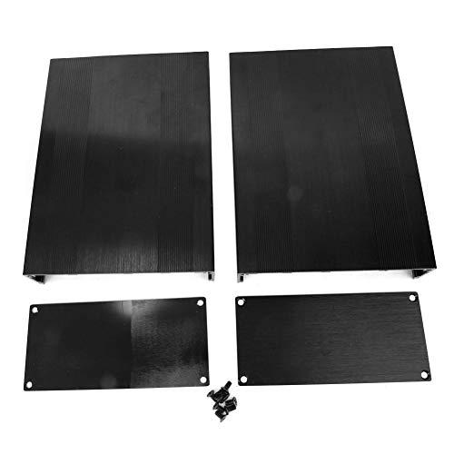 Caredy Aluminium Elektronische Projektbox DIY Schwarz Aluminium Gehäuse Gehäuse Gebürstet Schwarz Oxid Split Typ Aluminium Kühlgehäuse oder Verstärker GPS(200mm)