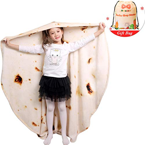 mermaker Burritos Tortilla Blanket 2.0 Double Sided 47 inches for Adult and Kids, Giant Funny Realistic Food Throw Blanket, 285 GSM Novelty Soft Flannel Taco Blanket (Yellow Blanket-Double Sided)