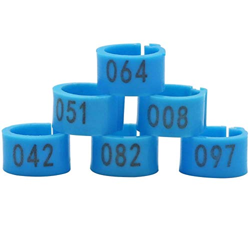 MACGOAL Numbered Pigeon Leg Bands Poultry Leg Rings for Birds Chicken Quail Dove Pigeon Foot Rings 001 to 100 (Blue)