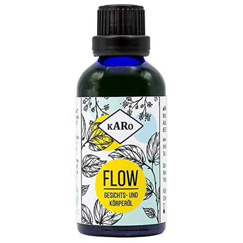 Gesichts- und Körperöl Flow mit Jojoba-, Argan- und Hanföl; regeneriert trockene und empfindliche Haut; zertifizierte, vegane Naturkosmetik; entspannender Duft, 50 ml, Glasflasche
