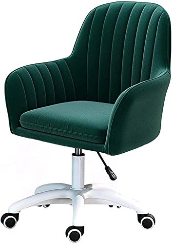 ZIHUAD 360 ° Swivel Samt Bürostuhl, Einstellbarer Gaming-Lift-Stuhl, ergonomischer mittlerer Rücken-Computer-Sitz mit Armlehne Green