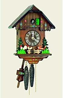 mygermanstore Original One Day Movement Cuckoo Clock with Moving Fox and Chickens 11 Inch